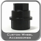 "Custom Wheel Accessories® 1-1/16"" Black Lug Nut Caps Seat Right Hand Thread Black Sold Individually #5364"