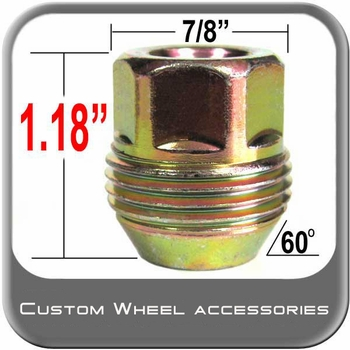"Custom Wheel Accessories® 7/16"" x 20 GM Lug Nuts - Large Tapered (60°) Seat Right Hand Thread Yellow Sold Individually #5301D"