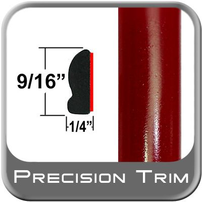 """9/16"""" Wide Salsa Red Wheel Molding Trim 3Q3 ( CP39 ), Sold by the Foot, ColorTrim Plastics® # 30-39"""