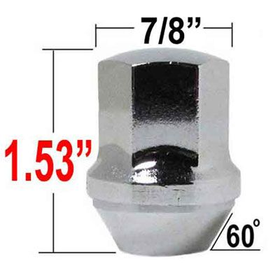 "Excalibur® 9/16"" x 18 Camaro/Dodge/Jeep Lug Nuts Tapered (60°) Seat Right Hand Thread Chrome Sold Individually #7110"