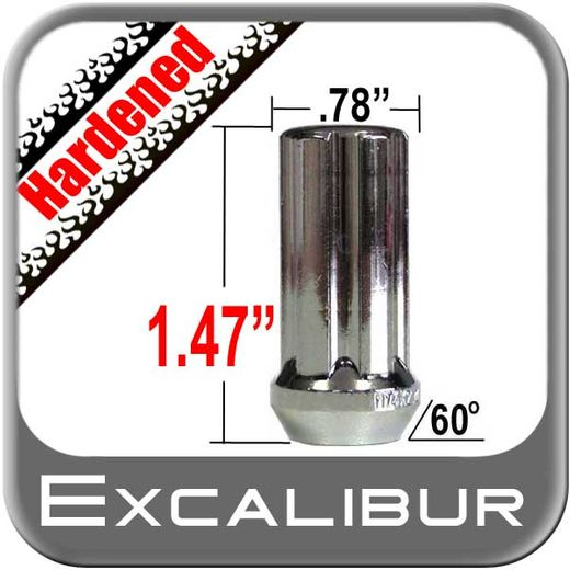 Excalibur® 12mm x 1.5 Lug Nuts Tapered (60°) Seat Right Hand Thread Chrome Sold Individually #98-0357A