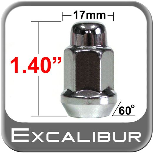 """Excalibur® 1/2"""" x 20 Chrome Lug Nuts Tapered (60°) Seat Right Hand Thread Chrome Sold Individually #1974"""
