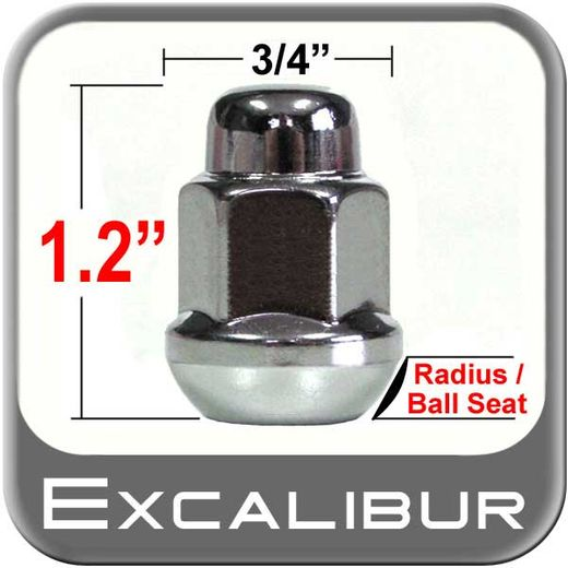 Excalibur® 12mm x 1.5 Chrome Lug Nuts Ball/Radius Seat Right Hand Thread Chrome Sold Individually #98-0029-07