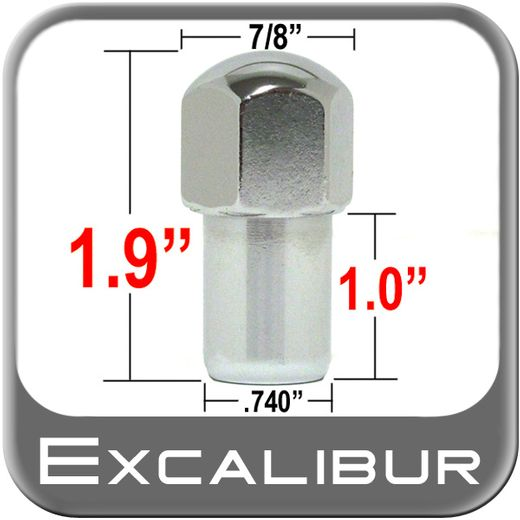 """Excalibur® 1/2"""" x 20 Chrome Lug Nuts Mag Seat Left Hand Thread Chrome Sold Individually #9005"""