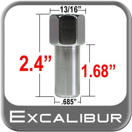 """Excalibur® 1/2"""" x 20 Chrome Lug Nuts Mag Seat Right Hand Thread Chrome Sold Individually #8704"""