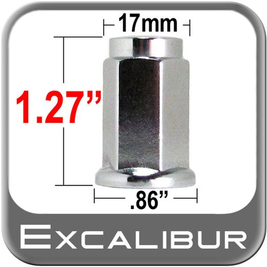 Excalibur® 10mm x 1.25 Chrome Lug Nuts Flat (Flanged) Seat Right Hand Thread Chrome Sold Individually #98-0007