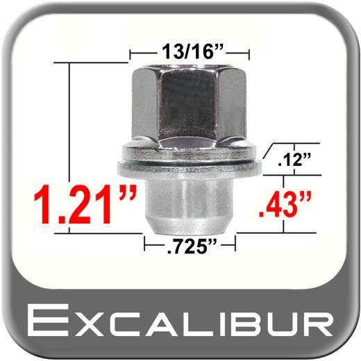 Excalibur® 12mm x 1.5 Chrome Lug Nuts Mag Seat Right Hand Thread Chrome Sold Individually #98-0003