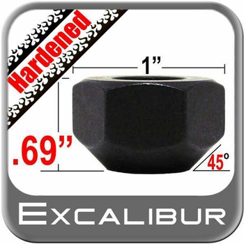"""Excalibur® 1/2"""" x 20 Black Lug Nuts Tapered (45°) Seat Right Hand Thread Black Sold Individually #3404HD"""