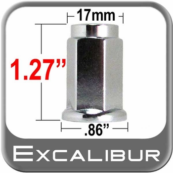 "Excalibur® 1/2"" x 20 Chrome Lug Nuts Flat (Flanged) Seat Right Hand Thread Chrome Sold Individually #98-0011"