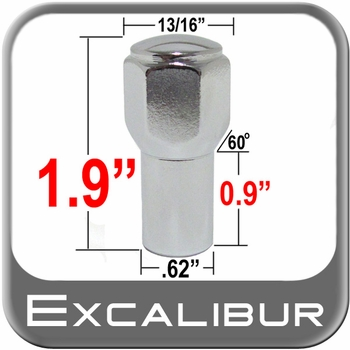 """Excalibur® 1/2"""" x 20 Chrome Lug Nuts Mag E-T (w/60° Taper) Seat Right Hand Thread Chrome Sold Individually #7304"""