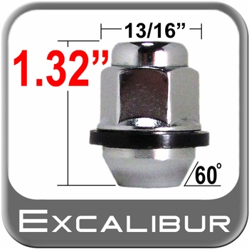 Excalibur® 12mm x 1.5 Chrome Lug Nuts Tapered (60°) Seat Right Hand Thread Chrome Sold Individually #98-0005