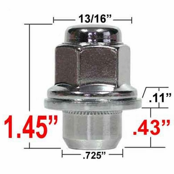 Excalibur® 12mm x 1.5 Toyota Lug Nut Mag Seat Right Hand Thread Chrome Sold Individually #98-0002SH