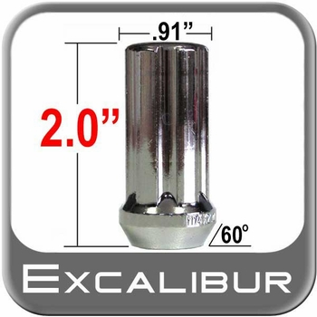Excalibur® 14mm x 2.0 Lug Nuts Tapered (60°) Seat Right Hand Thread Chrome Sold Individually #98-0418L