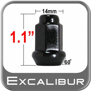 "Excalibur® 3/8"" x 24 Black Lug Nuts Tapered (60°) Seat Right Hand Thread Black Sold Individually #98-0028B"