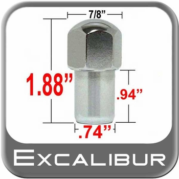 """Excalibur® 7/16"""" x 20 Chrome Lug Nuts Mag Seat Right Hand Thread Chrome Sold Individually #9002"""