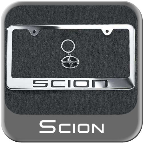 Genuine Scion License Plate Frame w/Keychain, Bolts & Bolt Emblems Chrome Finish Sold Individually #PTS22-0005C