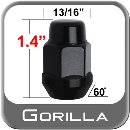 Gorilla® 12mm x 1.75 Black Lug Nuts Tapered (60°) Seat Right Hand Thread Black Sold Individually #91168BC