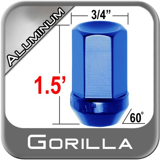 Gorilla® 12mm x 1.25 Blue Aluminum Racing Lug Nuts Tapered (60°) Seat Right Hand Thread Blue Sold Individually #44128BL