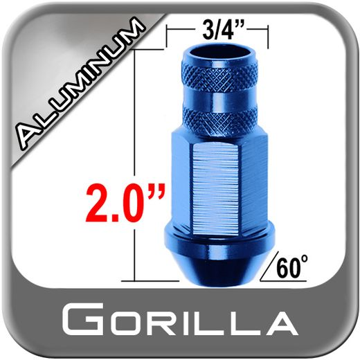 Gorilla® 12mm x 1.5 Blue Aluminum Racing Lug Nuts Tapered (60°) Seat Right Hand Thread Blue Sold Individually #44038BL