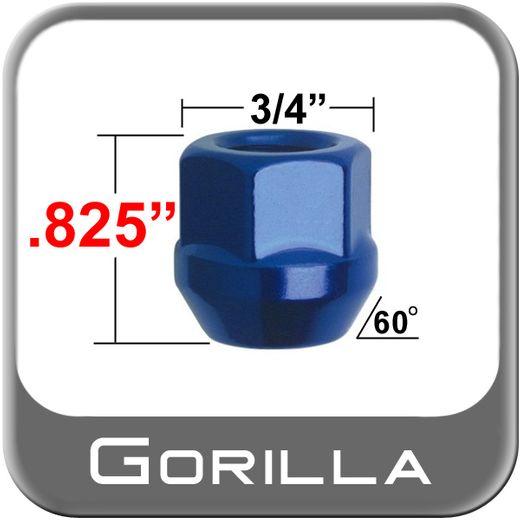 Gorilla® 12mm x 1.25 Blue Lug Nuts Tapered (60°) Seat Right Hand Thread Blue Sold Individually #40028BL