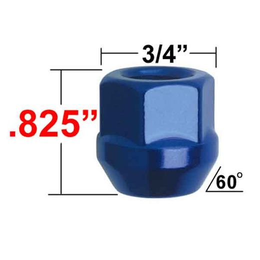 Gorilla® 12mm x 1.5 Blue Lug Nuts Tapered (60°) Seat Right Hand Thread Blue Sold Individually #40038BL