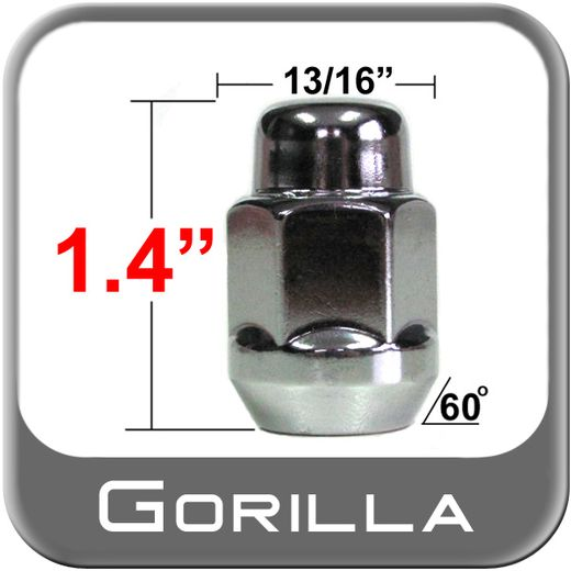 Gorilla® 12mm x 1.25 Chrome Lug Nuts Tapered (60°) Seat Right Hand Thread Chrome Sold Individually #91128