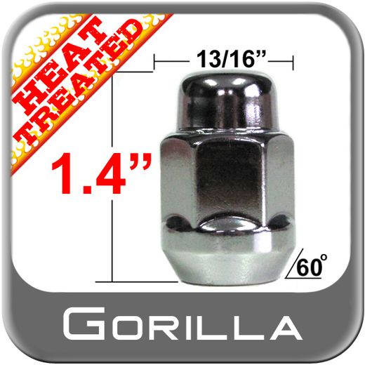 Gorilla® 12mm x 1.5 Chrome Lug Nuts Tapered (60°) Seat Right Hand Thread Chrome Sold Individually #91138HT