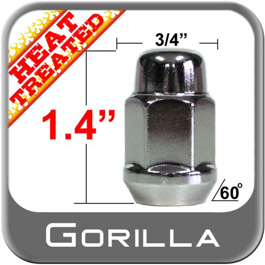 Gorilla® 14mm x 1.5 Chrome Lug Nuts Tapered (60°) Seat Right Hand Thread Chrome Sold Individually #41148HT