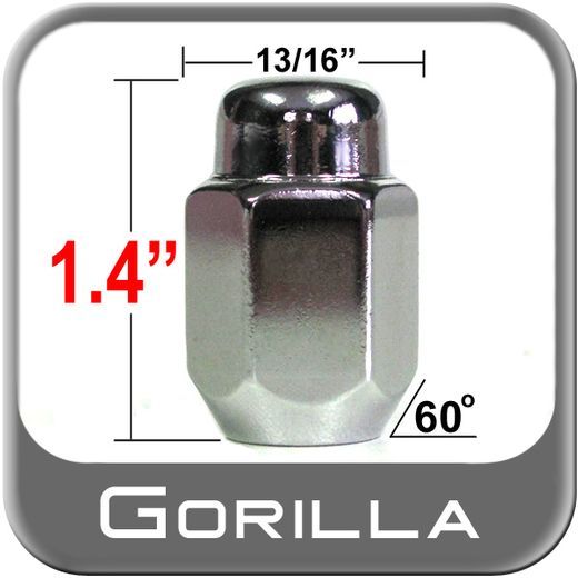 Gorilla® 12mm x 1.75 Chrome Lug Nuts Tapered (60°) Seat Right Hand Thread Chrome Sold Individually #71168