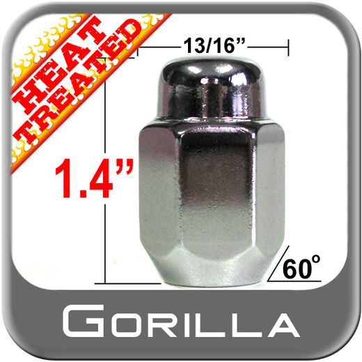 Gorilla® 12mm x 1.5 Chrome Lug Nuts Tapered (60°) Seat Right Hand Thread Chrome Sold Individually #71138HT