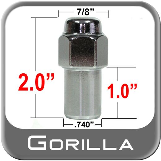 """Gorilla® 9/16"""" x 18 Chrome Lug Nuts Mag Seat Right Hand Thread Chrome Sold Individually #75198"""