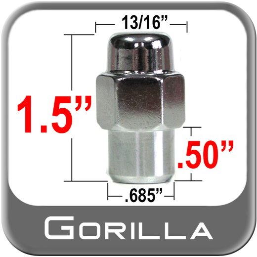 Gorilla® 12mm x 1.25 Chrome Lug Nuts Mag Seat Right Hand Thread Chrome Sold Individually #73128SM