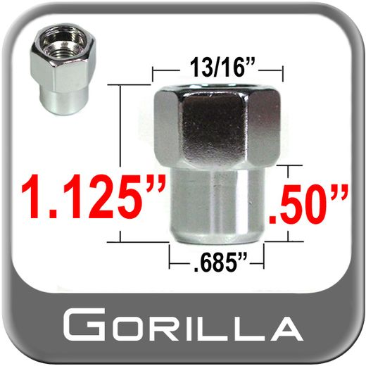 Gorilla® 12mm x 1.25 Chrome Lug Nuts Mag Seat Right Hand Thread Chrome Sold Individually #73028SM