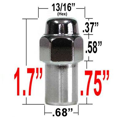 """Gorilla® 7/16"""" x 20 Chrome Lug Nuts Mag Seat Right Hand Thread Chrome Sold Individually #73178"""