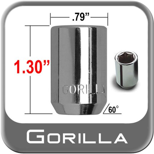 Gorilla® 12mm x 1.75 Hex Socket Lug Nuts Tapered (60°) Seat Right Hand Thread Chrome Sold Individually #20068