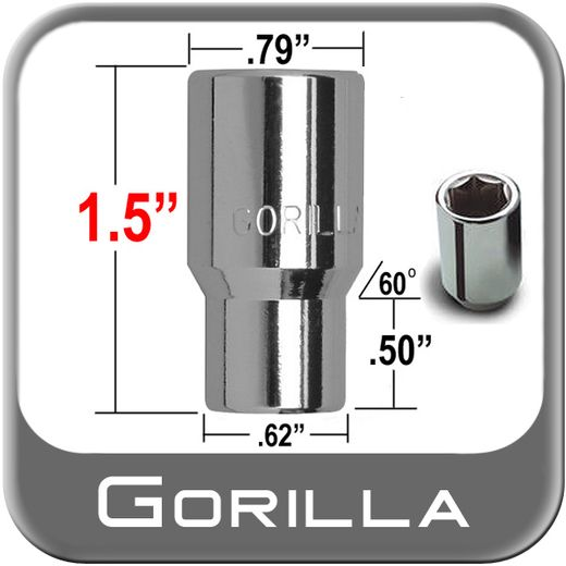Gorilla® 12mm x 1.5 Hex Socket Lug Nuts Mag E-T (w/60° Taper) Seat Right Hand Thread Chrome Sold Individually #21038