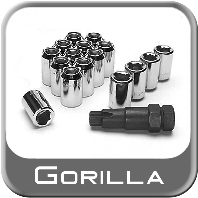 Gorilla® 12mm x 1.5 Hex Socket Tuner Lug Nut & Lock Set Tapered (60°) Seat Right Hand Thread Chrome 4 Locks, 12 Nuts #20732