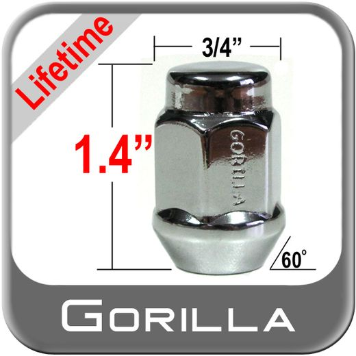 Gorilla® 12mm x 1.5 Lifetime Guarantee Lug Nuts Tapered (60°) Seat Right Hand Thread Chrome Sold Individually #41138LT