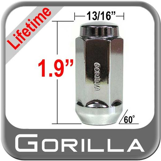 Gorilla® 14mm x 1.5 Lifetime Guarantee Lug Nuts Tapered (60°) Seat Right Hand Thread Chrome Sold Individually #61148XL