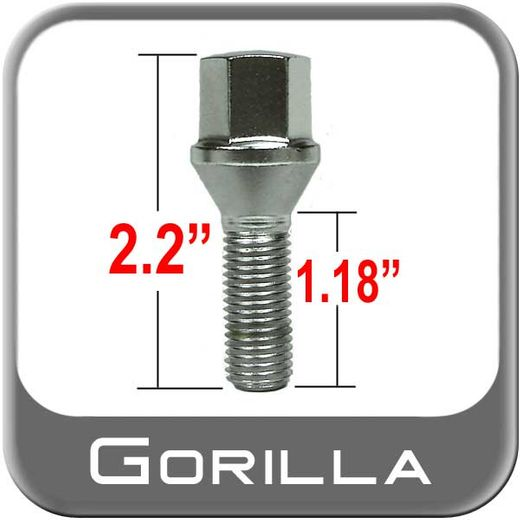 Gorilla® 14mm x 1.25 Lug Bolts Tapered (60°) Seat Right Hand Thread Chrome Sold Individually #17142