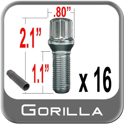 Gorilla® 12mm x 1.5 Lug Bolts Tapered (60°) Seat Right Hand Thread Chrome 16 Bolts w/Key #17179SD-16