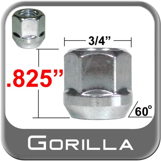 """Gorilla® 7/16"""" x 20 Open End Lug Nuts Tapered (60°) Seat Right Hand Thread Silver Sold Individually #40078"""