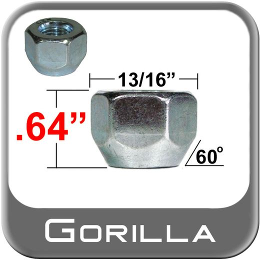 Gorilla® 12mm x 1.25 Open End Lug Nuts Tapered (60°) Seat Right Hand Thread Silver Sold Individually #70028