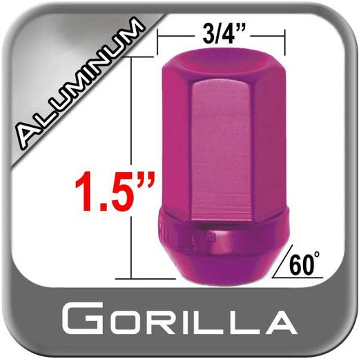 Gorilla® 12mm x 1.25 Red Aluminum Racing Lug Nuts Tapered (60°) Seat Right Hand Thread Red Sold Individually #44128RD