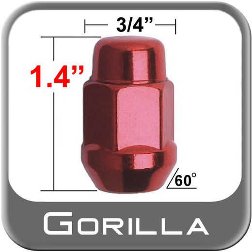 "Gorilla® 1/2"" x 20 Red Lug Nuts Tapered (60°) Seat Right Hand Thread Red Sold Individually #41188RD"