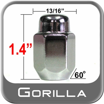 "Gorilla® 1/2"" x 20 Chrome Lug Nuts Tapered (60°) Seat Right Hand Thread Chrome Sold Individually #71188"