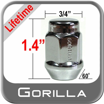 "Gorilla® 1/2"" x 20 Lifetime Guarantee Lug Nuts Tapered (60°) Seat Right Hand Thread Chrome Sold Individually #41188LT"