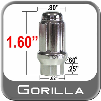 "Gorilla® 1/2"" x 20 Lug Nuts Mag E-T (w/60° Taper) Seat Right Hand Thread Chrome Sold Individually #21188ET"