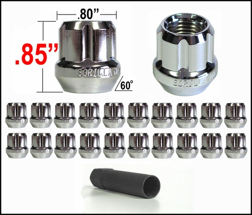 "Gorilla® 1/2"" x 20 Lug Nuts Tapered (60°) Seat Right Hand Thread Chrome 20 Nuts w/Key #20083SD"