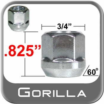 """Gorilla® 1/2"""" x 20 Open End Lug Nuts Tapered (60°) Seat Right Hand Thread Silver Sold Individually #40088"""